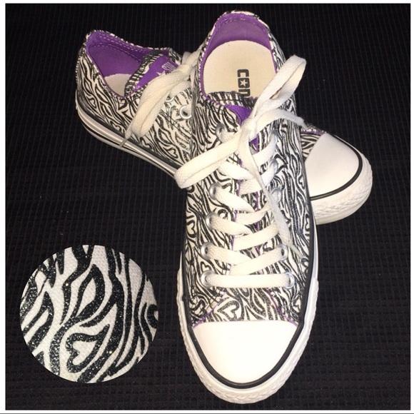 5e70780e571 Converse Shoes - Converse White Black Zebra Striped w  Hearts Shoes